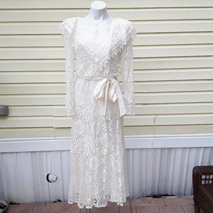 UNION Made USA white MAXI wedding lace dress S
